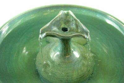 Green Ceramic Cat Fountain