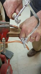 Cutting a pleasing line in copper tube for cat fountain