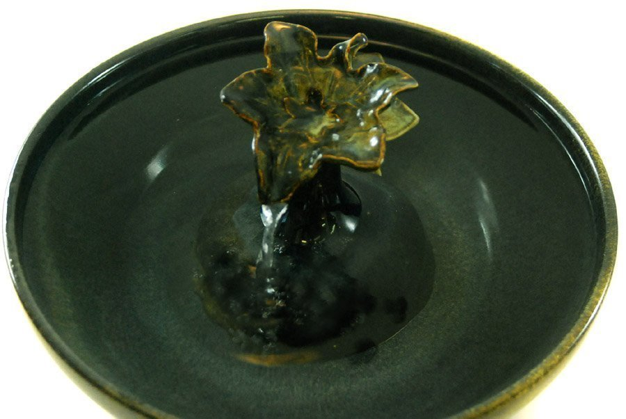 Cat Drinking Fountain With A Maple Leaf Pump Cover And