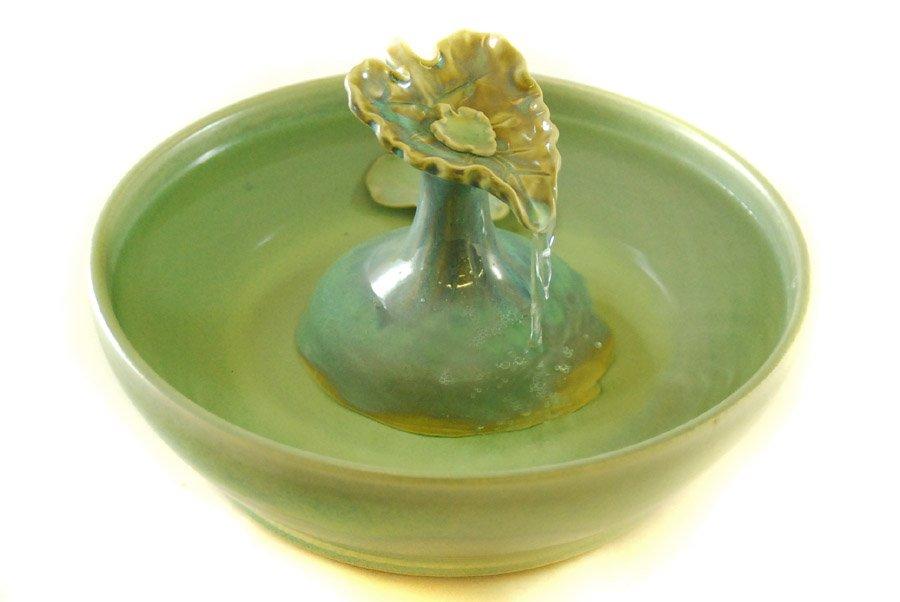 Cat Water Fountain Glazed In Lemon Grass Water Fills The
