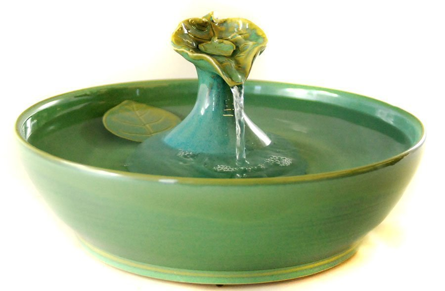 Cat Water Fountain Glazed In Sea Green And Caribbean